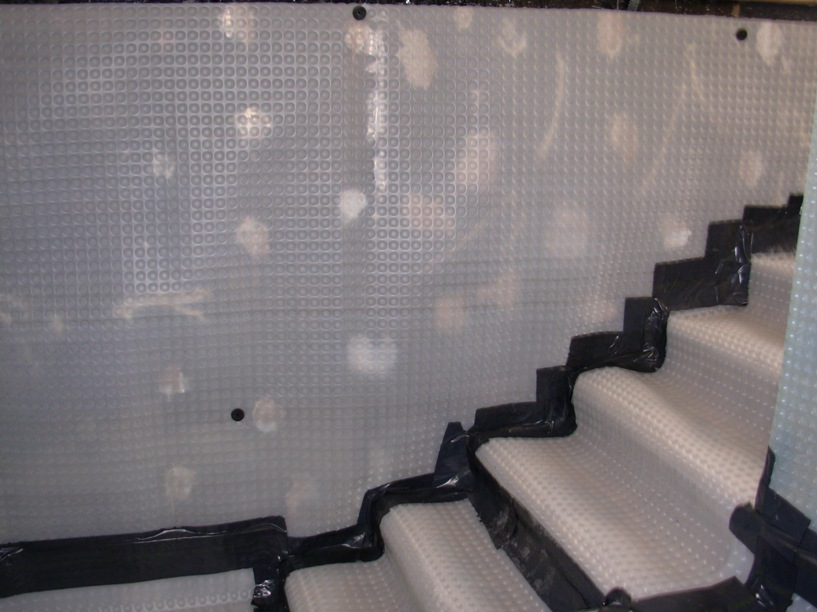 wall membrane system within basement cavity wall membrane on walls