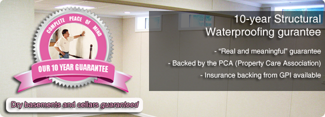 Our 10 Year Structural Waterproofing Guarantee